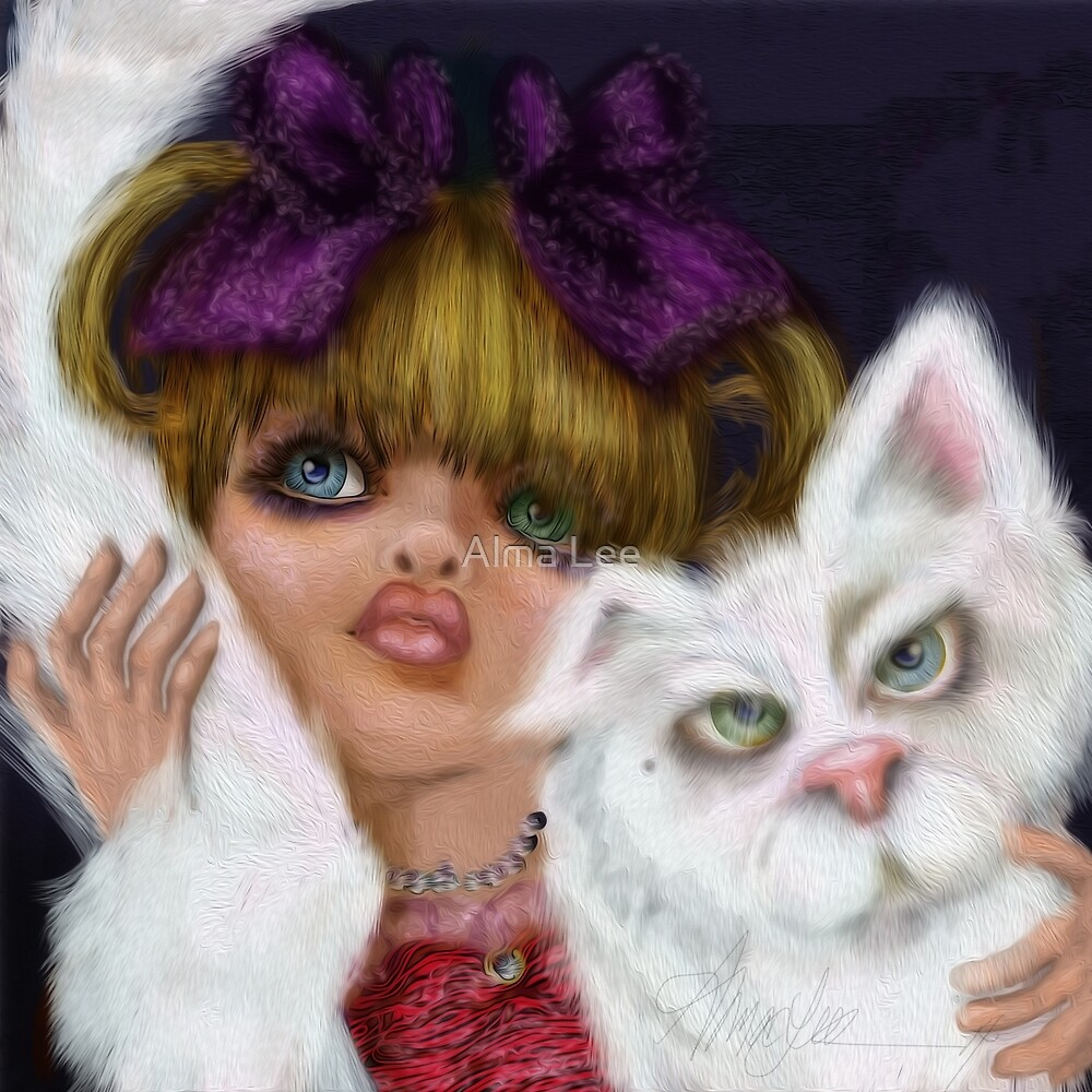 You Can't Say No to Me: a big eyed girl and cat by Alma Lee