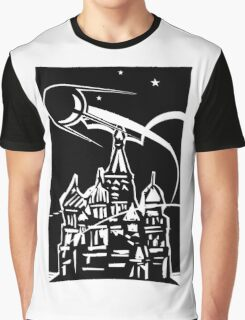 Space Ship over Castle Graphic T-Shirt