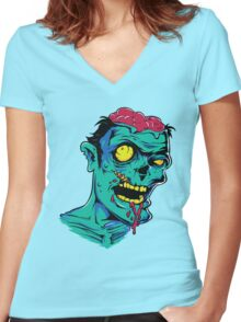 Zombie Brains Women's Fitted V-Neck T-Shirt