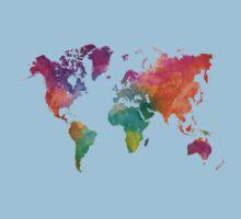 World map in watercolor 25 Kids Tee