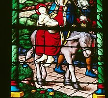 Flight into Egypt C16 Glass Cathedral St Etienne Chalons sur Marne France 198405060061 by Fred Mitchell