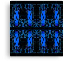 Ancient Egyptian Priests and Cobras in Blue and Black II Canvas Print
