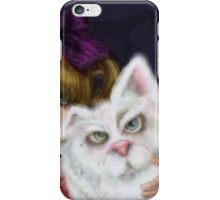 You Can't Say No to Me: a big eyed girl and cat iPhone Case/Skin