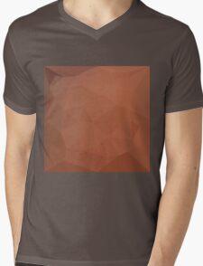 Burnt Orange Abstract Low Polygon Background Mens V-Neck T-Shirt