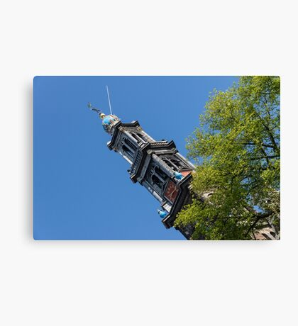 Amsterdam Spring - Blue Crown Westerkerk Bell Tower Above the Trees Canvas Print