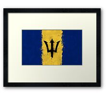 Barbados Flag Grunge Framed Print