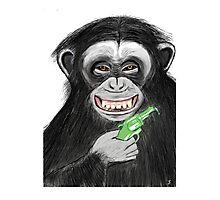 monkey with watergun Photographic Print