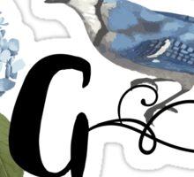 Bluebird Vintage Floral Initial G Sticker