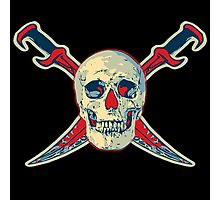 Color Pirate Skull with Swords Photographic Print
