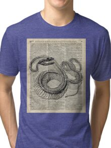 Boa Snake Skeleton,Ink and Pen Anatomy Chart,Vintage Dictionary Art Tri-blend T-Shirt