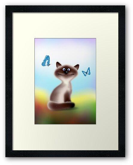 Sly Himalayan Cat & Butterflies by lydiasart