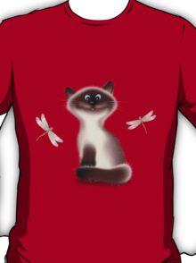 Sly Himalayan Cat & Butterflies T-Shirt