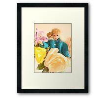 Vintage Barbie with Flowers Framed Print