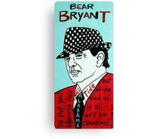Bear Bryant Alabama Football Folk Art Canvas Print