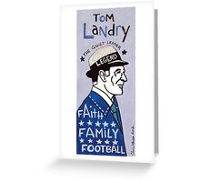 Tom Landry Dallas Cowboys Football Folk Art Greeting Card