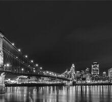 Cincinnati night skyline by woodnimages