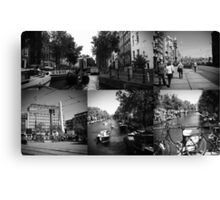 Photo collage Amsterdam 1 in black and white Canvas Print