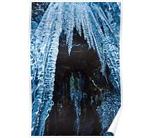 Icicles on mountain wall Poster