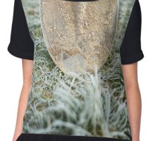 Shovel on frozen lawn Chiffon Top