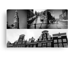 Photo collage Amsterdam 2 in black and white Canvas Print