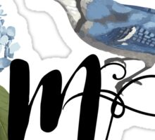 Bluebird Vintage Floral Initial M Sticker