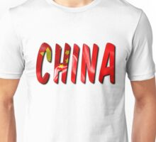 China Word With Flag Texture Unisex T-Shirt