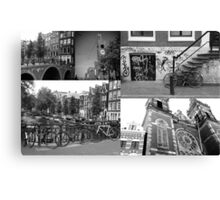 Photo collage Amsterdam 4 in black and white Canvas Print