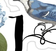 Bluebird Vintage Floral Initial J Sticker