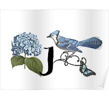 Bluebird Vintage Floral Initial J Poster