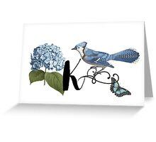 Bluebird Vintage Floral Initial K Greeting Card