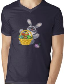 Easter Bunny with Egg Basket Mens V-Neck T-Shirt