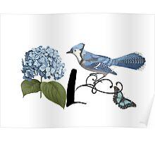 Bluebird Vintage Floral Initial L Poster