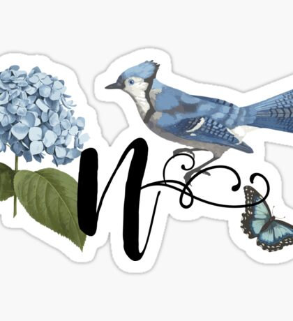 Bluebird Vintage Floral Initial N Sticker