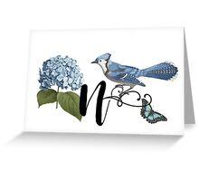 Bluebird Vintage Floral Initial N Greeting Card