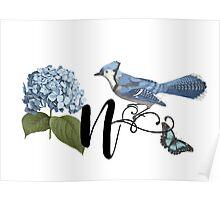 Bluebird Vintage Floral Initial N Poster