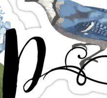 Bluebird Vintage Floral Initial P Sticker