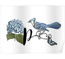 Bluebird Vintage Floral Initial P Poster