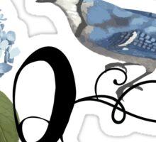 Bluebird Vintage Floral Initial Q Sticker