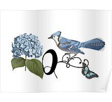 Bluebird Vintage Floral Initial Q Poster