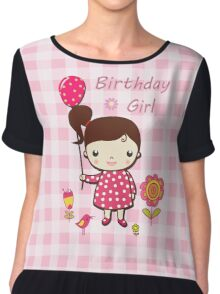 Birthday Girl Pink Balloon Flower Cartoon  Chiffon Top