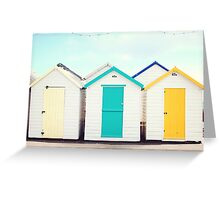 Bright Beach Huts Greeting Card
