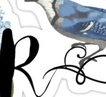Bluebird Vintage Floral Initial R Sticker