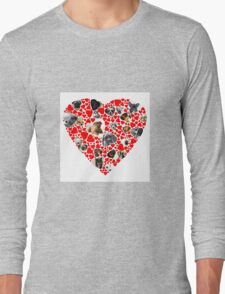 Valentine Hearts Love Dog Photo Collage Long Sleeve T-Shirt