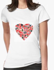 Valentine Hearts Love Dog Photo Collage Womens Fitted T-Shirt