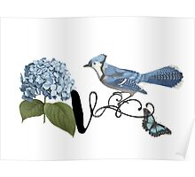 Bluebird Vintage Floral Initial V Poster