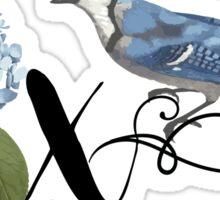 Bluebird Vintage Floral Initial X Sticker