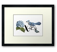 Bluebird Vintage Floral Initial X Framed Print