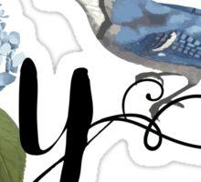 Bluebird Vintage Floral Initial Y Sticker