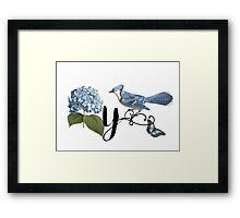 Bluebird Vintage Floral Initial Y Framed Print