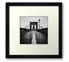 Brooklyn Bridge In Rain Framed Print
